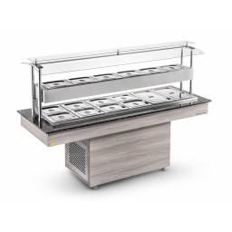 REFRIMATE Mesa de Buffet Calor/ Frio NBRCQF 10+5 cubas